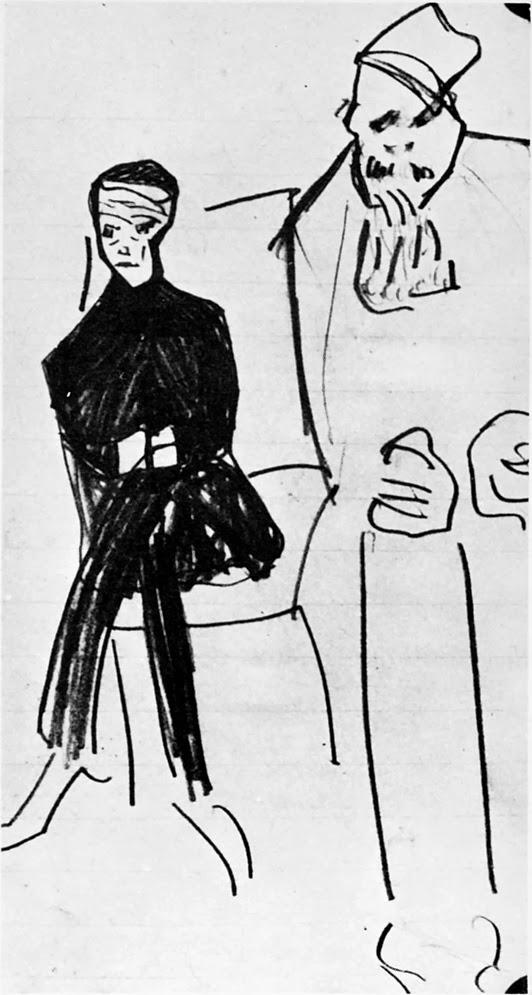 Crtez Franca Kafke iz Procesa-1914/1915.godina- Dvojica koji cekaju