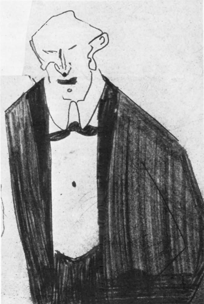 Crtez Franca Kafke iz Dnevnika iz 1921.godine-Zlovoljan covek u crnom odelu