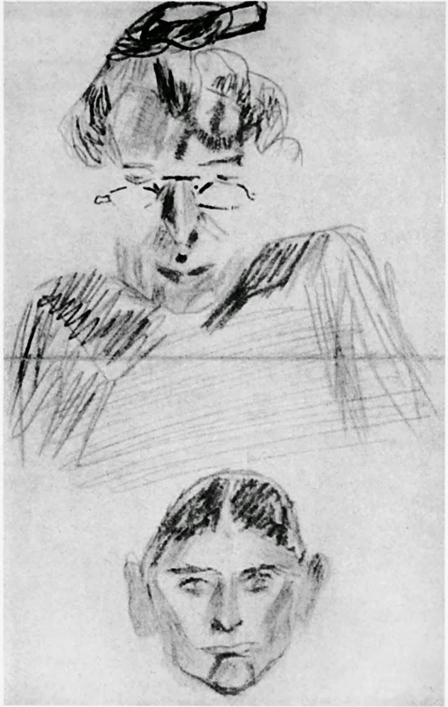 Crtez Franca Kafke iz Dnevnika iz 1911. godine-Mama Kafka cita