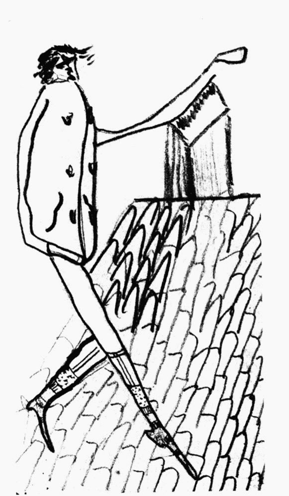 Crtez Franca Kafke-Setnja krovom bez pantalona
