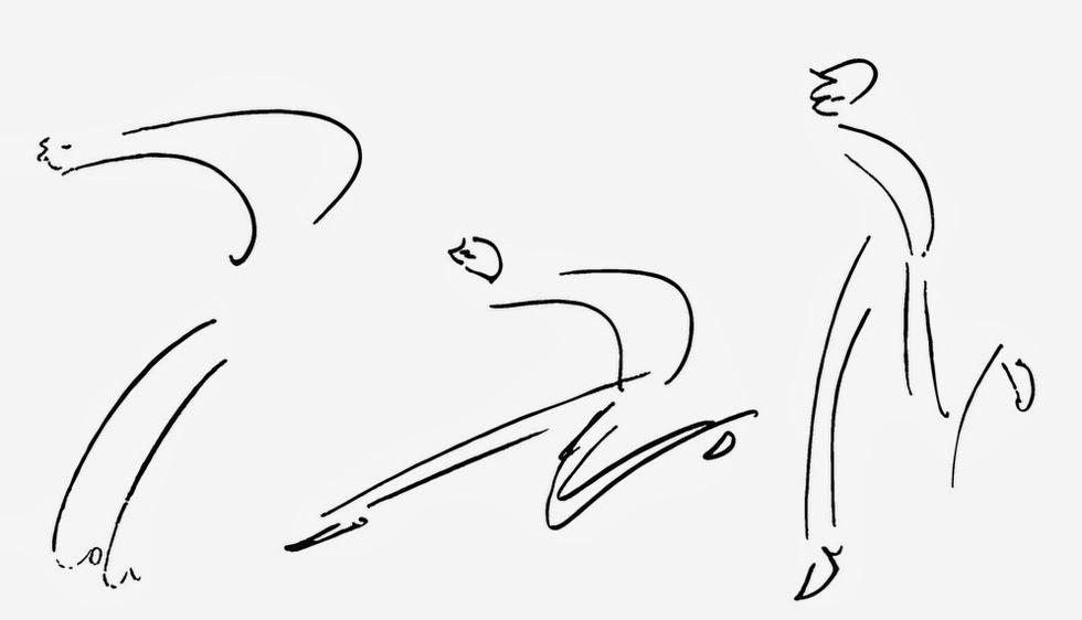 Crtez Franca Kafke iz 1912.godine, Tri trkaca